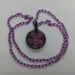 Resin flower resin pendant necklace